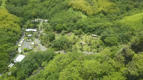 Tahiti, aerial drone video of Fare Hape and river maroto, Papeno valley, french Polynesia