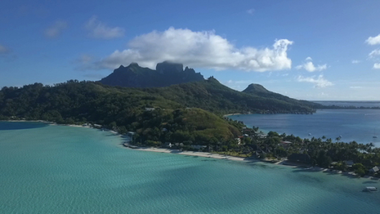 Bora Bora, aerial drone video of white sand beach, Matira, leeward island, french polynesia