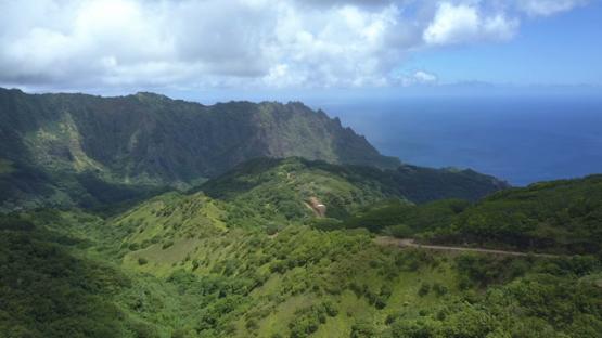 Fatu Hiva, aerial drone video of the road between Hanavave and Omoa, Marquesas islands, Polynesia, 4K UHD