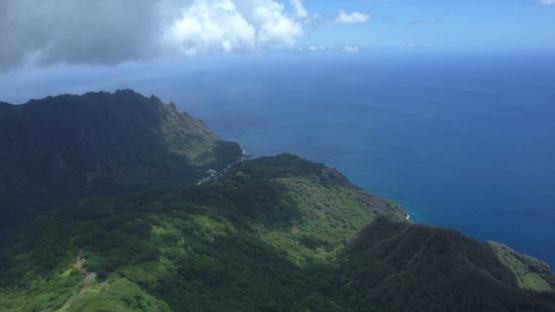 Fatu Hiva, aerial drone video of the mountains and ocean, marquesas islands, Polynésie