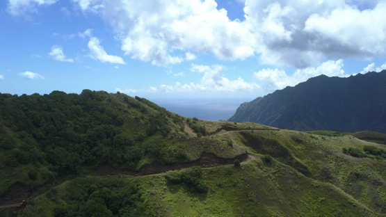 Fatu Hiva, aerial drone video of the mountains and ocean, marquesas islands, Polynesia 4K UHD