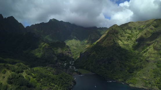Fatu Hiva, aerial drone video of the valley Hananvave and mountains, marquesas islands, Polynesia 4K UHD