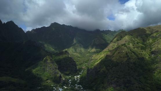 Fatu Hiva, aerial drone video of the mountains and valley Hanavave, marquesas islands, Polynesia 4K UHD