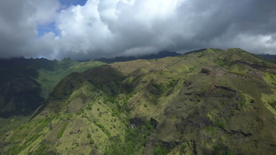 Fatu Hiva, aerial drone video of the mountains and valley, marquesas islands, Polynesia 4K UHD