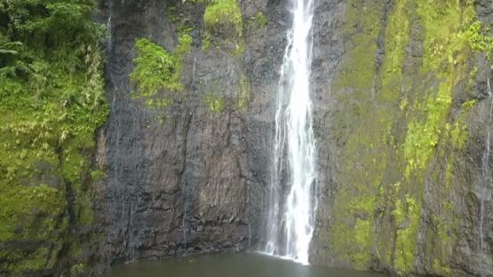 Tahiti, Aerial drone shot of waterfall, ascending