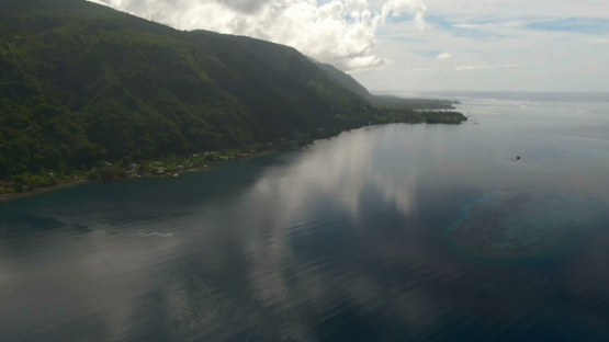 Tahiti, aerial drone view of the coast and lagoon, Vairao