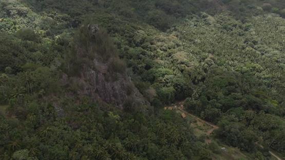 Hiva Oa aerial drone view, Tikis, statues of Puamau, Marquesas islands, 2K7