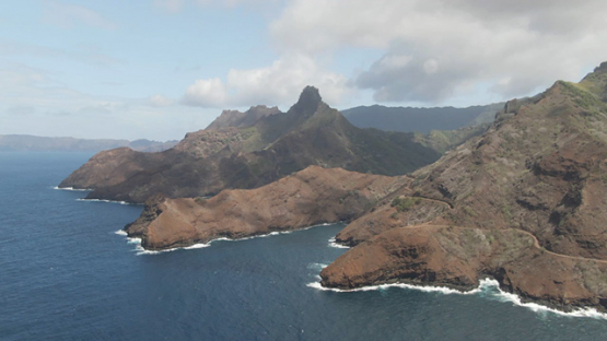 Hiva Oa aerial drone view, of Puamau and oceanic coast, Marquesas islands, 2K7