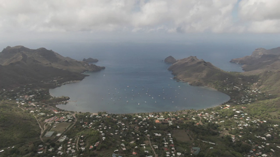 Aerial drone view of the baie of Taiohae, Nuku Hiva, marquesas islands, Polynesia 2K7