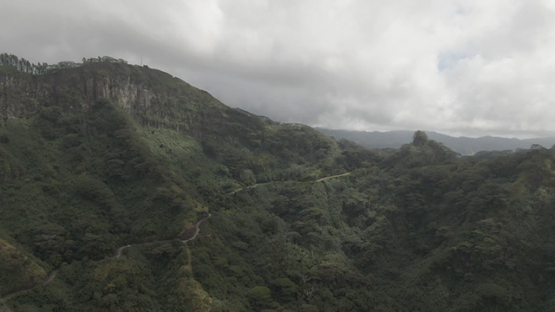Aerial drone view of Nuku Hiva, mountain above Taiohae, marquesas islands, Polynesia 2K7