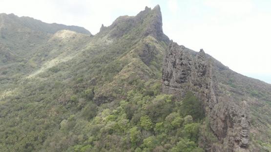 Aerial drone video, Nuku Hiva, rocky mountain of Hatiheu, marquesas islands, 2K7