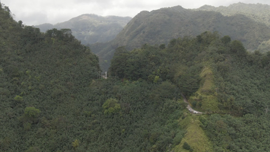 Aerial drone video, Nuku Hiva, road between Taipivai and Hatiheu, rocky mountains, marquesas islands, 2K7