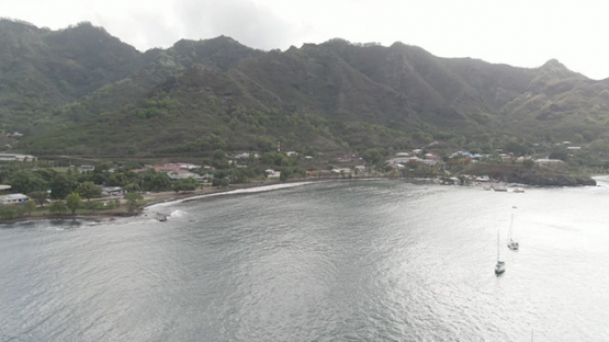 Aerial drone video of Nuku Hiva, bay of Taiohae,  marquesas islands, 2K7