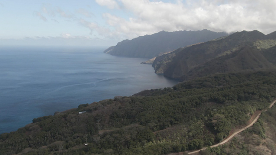 Fatu Hiva, aerial drone view of oceanic coast near Omoa village, marquesas islands, 2K7
