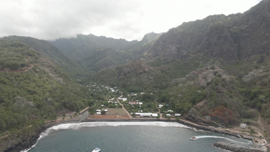 Fatu Hiva, aerial drone view of villlage Omoa and bay, marquesas islands, 2K7