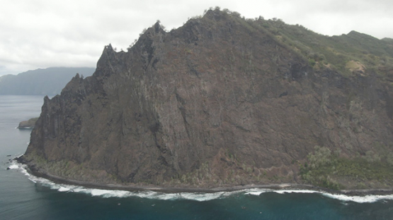 Fatu Hiva, aerial drone view of mountains and ocean, marquesas islands, 2K7
