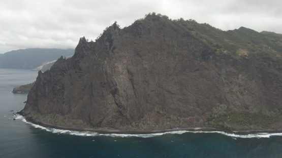 Fatu Hiva, aerial drone view of mountains and coast by Omoa, marquesas islands, 2K7