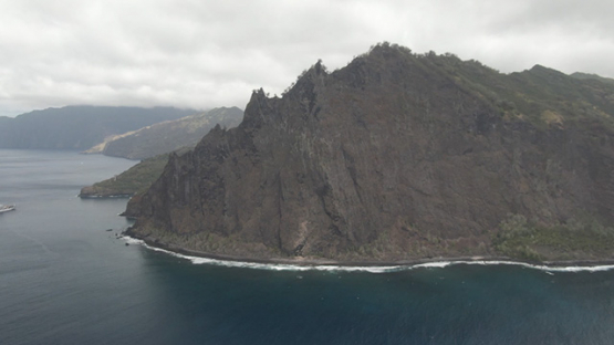 Aerial drone view of Fatu Hiva, coast of Omoa, Marquesas islands, Polynesia, 2K7