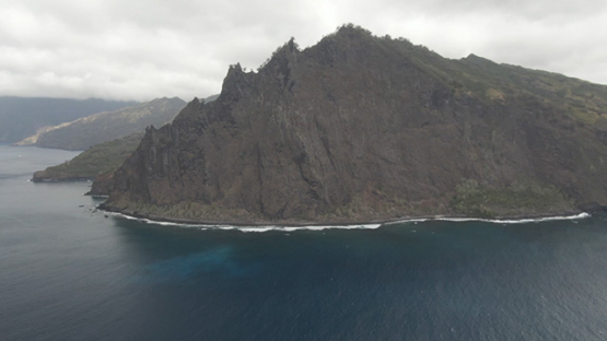 Aerial drone view of Fatu Hiva, oceanic coast of Omoa, Marquesas islands, Polynesia, 2K7