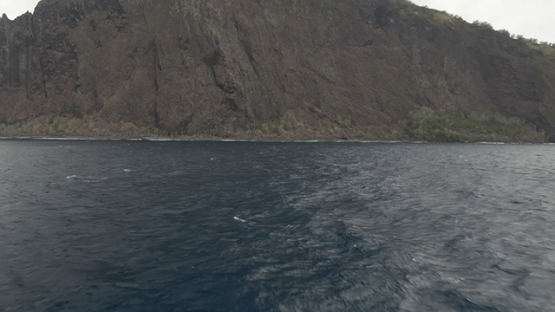 Aerial drone view of Fatu Hiva, flying toward the coast, Marquesas islands, Polynesia, 2K7