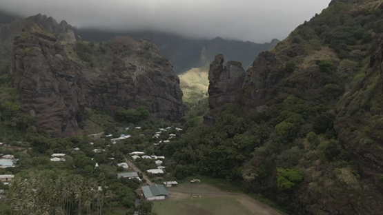 Aerial drone view of Fatu Hiva, Hanavave village, Marquesas islands, Polynesia, 2K7