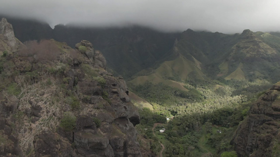 Aerial drone view of Fatu Hiva, Hanavave valley, Marquesas islands, Polynesia, 2K7