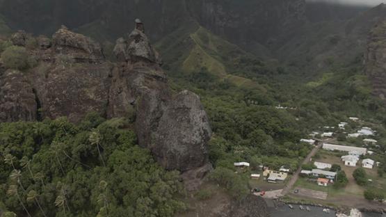 Aerial drone view of Fatu Hiva, Marquesas islands, Polynesia, 2K7