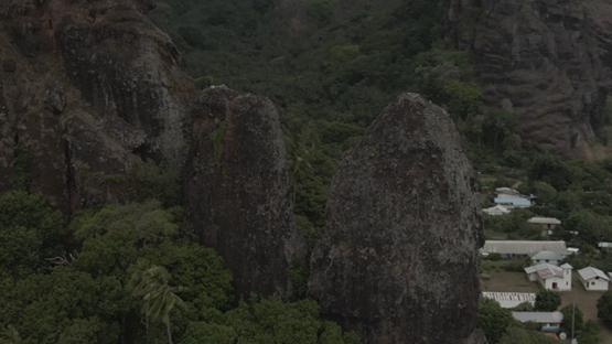 Aerial drone view of Fatu Hiva, rocks of Hanavave, Marquesas islands, Polynesia, 2K7