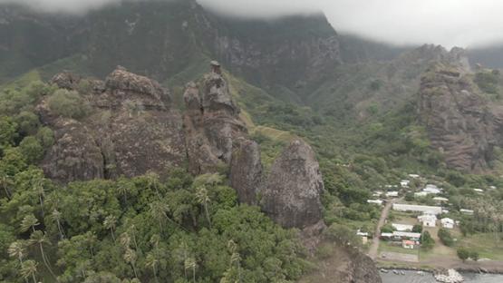 Aerial drone view of Fatu Hiva, Virgins bay of Hanavave valley, Marquesas islands, Polynesia, 2K7