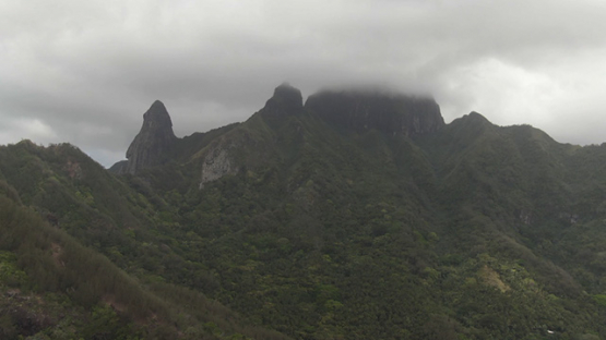 Aerial drone view of Ua Pou, Pillars and mountains in the clouds, Marquesas islands, Polynesia, 2K7