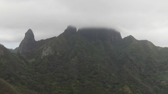 Aerial drone view of Ua Pou, peaks and mountains in clouds, Marquesas islands, Polynesia, 2K7