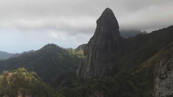 Aerial drone view of Ua Pou, Pillars and mountains, Marquesas islands, Polynesia, 2K7