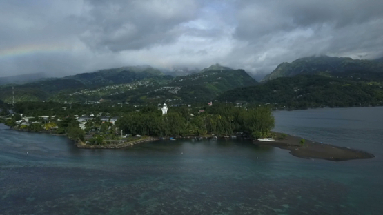 Aerial drone view of Tahiti, lighthouse of Pointe Venus, French Polynesia