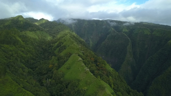 Aerial drone view of mountains of Tahiti, Pirae, French Polynesia