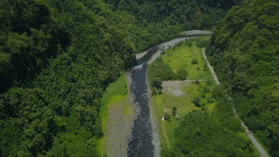 Tahiti Aerial drone view, river of Valley of Papenoo, French Polynesia