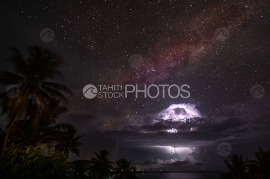 Milky way and storm shot at night in the sky of Bora Bora, French Polynesia