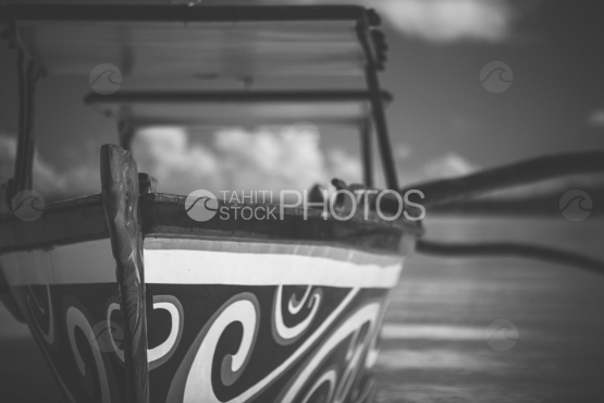 BORA BORA, TRADITIONAL POLYNESIAN OUTRIGGER, black and white shot