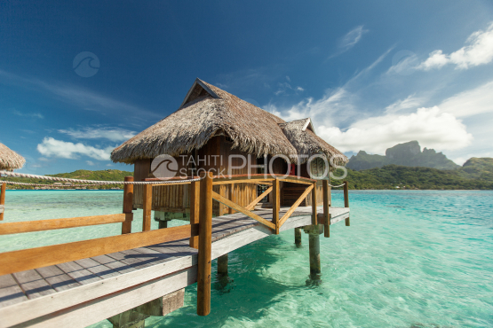 Luxury overwater bungalow in the lagoon of Bora Bora