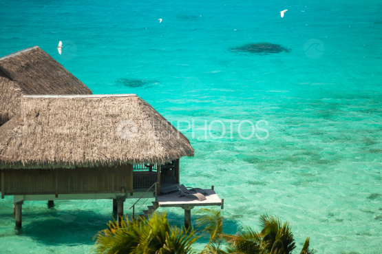Nice view on luxury overwater bungalow in the lagoon, Bora Bora