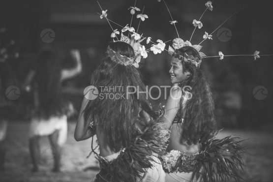 Bora Bora, smiling dancers with traditional costume, black and white