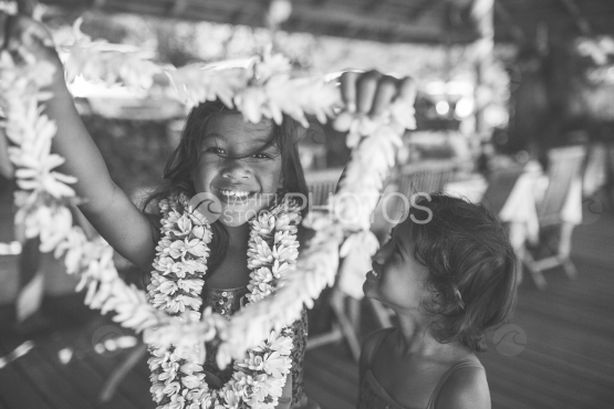 Bora Bora, polynesian children wiith flowers crowns, black and white