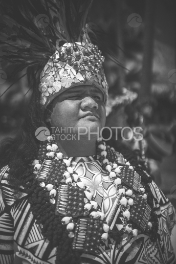 Bora Bora, polynesian preacher with traditional costume, black and white