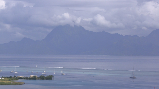 Clouds formation above the island of Moorea, time lapse 4K UHD