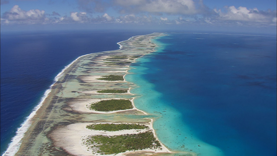 Aerial shot of Tikehau and barriere reef, tuamotu atoll, French Polynesia