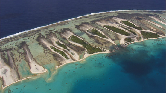 Aerial shot of the barrier reef of Tikehau, tuamotu atoll, French Polynesia