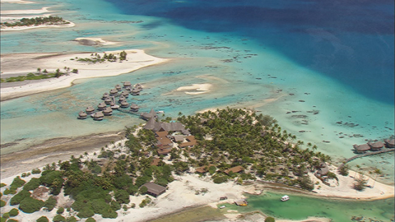 Aerial shot of a luxury hotel of Tikehau, tuamotu atoll, French Polynesia