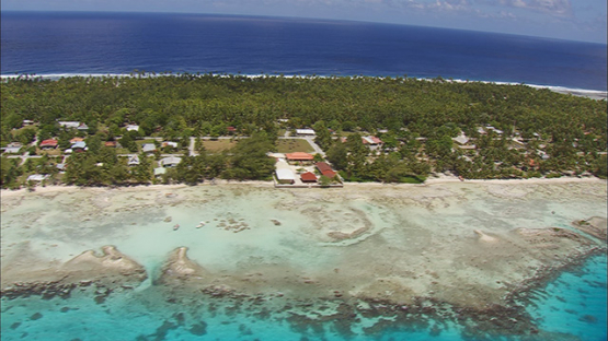 Aerial shot of the village of Tikehau, tuamotu atoll, French Polynesia