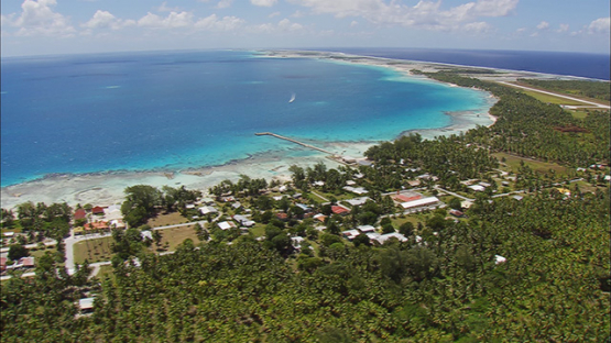 Aerial shot, village of Tikehau, tuamotu atoll, French Polynesia