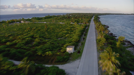 Aerial view above the road of the atoll Fakarava, Tuamotu, French Polynesia