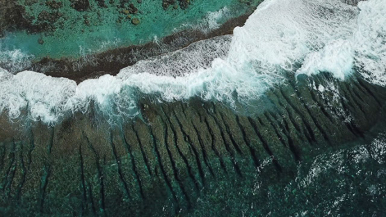Vertical Aerial view by drone of the barrier reef and waves, 4K UHD